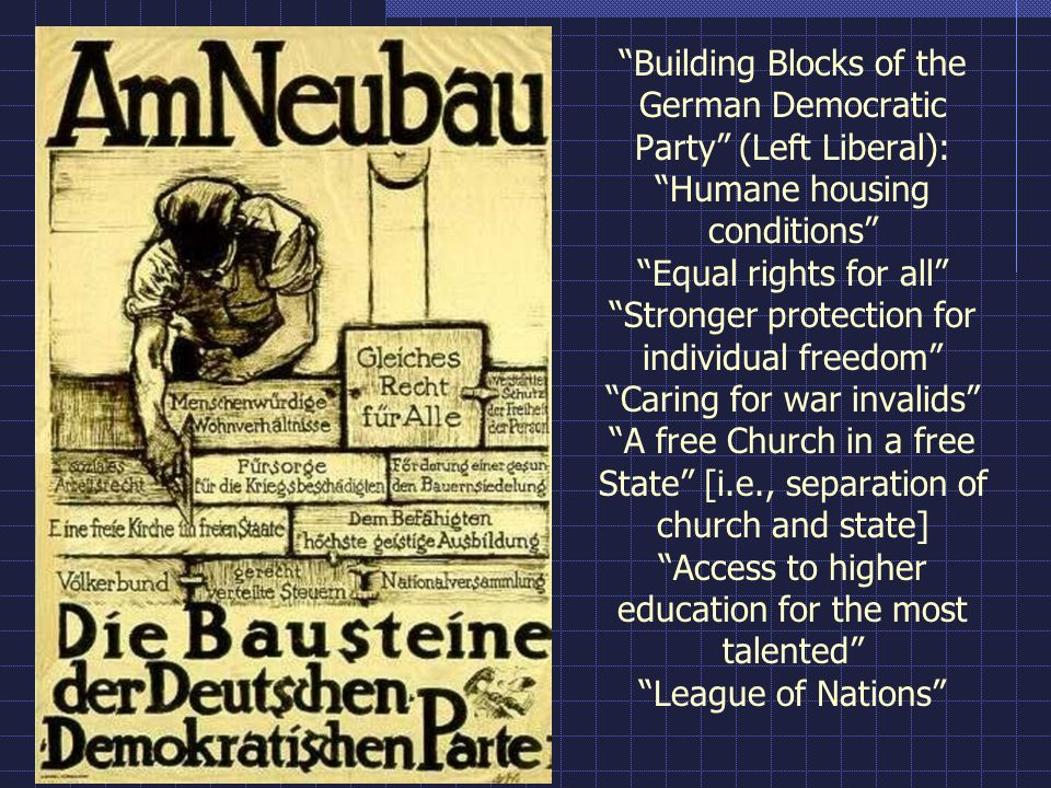 Building Blocks of the German Democratic Party (Left Liberal): Humane housing conditions Equal rights for all Stronger protection for individual freedom Caring for war invalids A free Church in a free State [i.e., separation of church and state] Access to higher education for the most talented League of Nations